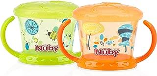 Nuby Designer Series Printed Snack Keeper, Green/Orange, 2 Count