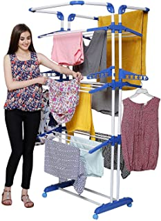 PARASNATH Prime Steel and Plastic 3 Poll Clothes Drying Stand with Breaking Wheel System (Blue)