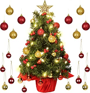 DearHouse 22 inch Tabletop Mini Artificial Christmas Tree Decor with Red Berries Perfect for Indoor and Outdoor Holiday Decoration, Include 29 Gold and Red Ball and Star Treetop Ornaments