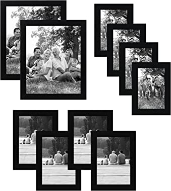 Americanflat 10-Piece Black Picture Frame Set | Includes Sizes 8x10, 5x7, and 4x6. Shatter-Resistant Glass. Hanging Hardware