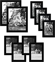 Americanflat 10-Piece Black Picture Frame Set | Includes Sizes 8x10, 5x7, and 4x6. Shatter-Resistant Glass. Hanging Hardwa...