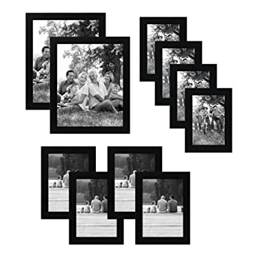 Americanflat 10-Piece Black Picture Frame Set | Includes Sizes 8x10, 5x7, and 4x6. Shatter-Resistant Glass. Hanging Hardware Included!