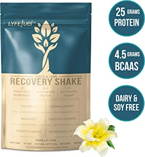 LYFE FUEL Post Workout Recovery Shake   Keto, Vegan & Gluten Free Plant Based Superfood Protein Mix   Vanilla Chai   25g of Protein   Soy and Dairy Free   1 LB Bag