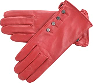 Lambland Ladies Genuine Leather Gloves with Popper Detail