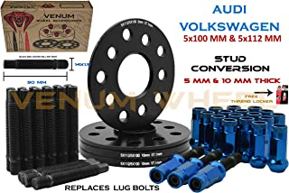 4 Pc 5x100 MM & 5x112 MM Hub Black Hub Centric Spacers 5 MM & 10 MM Thick + Stud Conversion W/ Blue Racing Lug Nuts (Replaces Lug Bolts) - Aftermarket Wheels Works With Audi & Volkswagen