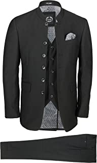 Xposed Mens Black Chinese Grandad Collar 3 Piece Suit Slim Fit Nehru Jacket Wedding Dress Party