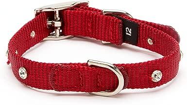 POOCHEE DESIGNS Nylon Webbing Swarovski Straight Dog Collar, Small Size 9-11, Red