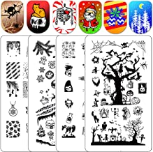 Nail Stamping Kit Halloween - Ejiubas Nail Stamping Plates 2PCS Double-Sided Christmas Stamping Plate for Nails Nail Art Plates X19X20