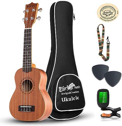 Everjoys Soprano Ukulele Starter Kit - Professional Mahogany 21 inch Ukelele w/Online Lesson Case Strap Digital Tuner...