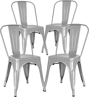 Poly and Bark Trattoria Kitchen and Dining Metal Side Chair in Grey (Set of 4)