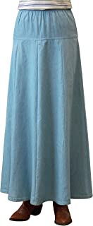 Baby'O Clothing Co. Womens Ultra Soft Lightweight Denim Fit and Flare A-Line Maxi Skirt