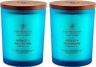 Chesapeake Bay Candle Scented Candles, Refresh + Rejuvenate (Mediterranean Citrus), Medium (2-Pack)