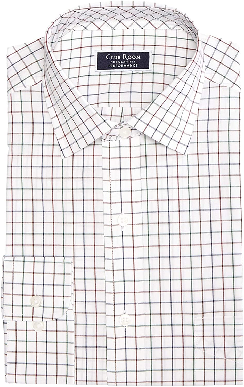Club Room Men's Classic/Regular Fit Stretch Wrinkle-Resistant Multi-Tattersall Dress Shirt