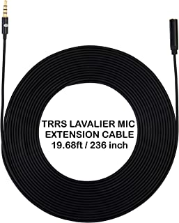 AGD Extension Cord Cable for Lavalier Mini Mic Microphone 3.5mm Male to Female 19.68 Ft / 236 inch / 6 Meter for Apple iPhone Android Smartphones Cellphones 3.5 TRRS Cord for Noise Cancelling Mic