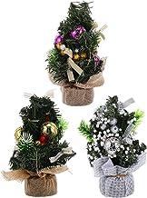 TOYANDONA 3pcs Mini Christmas Tree Model Snow Flocked Small Christmas Tree with Pine Cones Red Berry Burlap Base Indoor Xm...