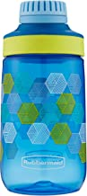 Rubbermaid Leak-Proof Chug Kids Water Bottle, 14 oz, Varsity Blue with Folded Hexagons Graphic