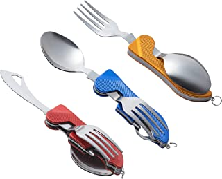 4-in-1 Camping Utensils - 3-Pack Camp Utensils Set, Stainless Steel Folding and Detachable Flatware Tableware with Storage Bags, Including Camping Fork, Knife, Spoon and Bottle Opener, Blue, Red, Gold