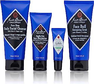 جک بلک - مجموعه ناجیان پوست - پاک کننده روزانه پاک کننده صورت ، تمیز کننده انرژی زاویه باز صورت ، مرطوب کننده صورت دوتایی SPF 20 ، رژلب درمانی شدید Balm Lip SPF 25 ، کیت 4 تکه