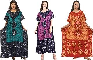 Odishabazaar Cotton Caftan/Kaftan Combo 3 Indian Cotton Batik Bohemian Long Dress