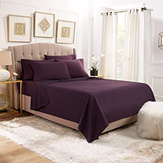 Empyrean Stronger Bed Sheet Set – Holds Longer 110 GSM Heavyweight - Luxury Soft Brushed Microfiber – 6 Piece Sheets with 4 Pillowcases – Tight Fit Straps Fitted Sheet – Queen Size, Eggplant Purple
