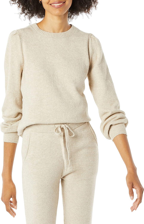 Amazon Essentials Women's Soft Touch Pleated Shoulder Crewneck Sweater