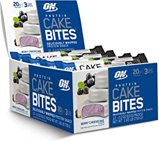 OPTIMUM NUTRITION Protein Cake Bites, Whipped Protein Bars, On the Go, low sugar, Protein Dessert, Flavor: Blueberry Cheesecake, 12 Count