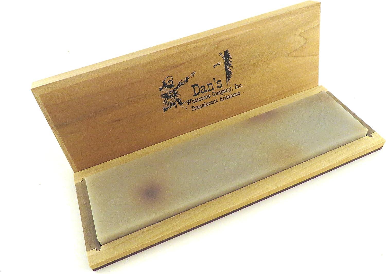 Genuine Arkansas Translucent (Extra Fine) Knife Sharpening Bench Stone Whetstone 8 x 2 x 1 2 in Wood Box TAB82C