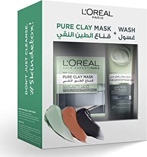 L'Oreal Paris Pure Black Clay Mask & Wash - Detoxifying Routine