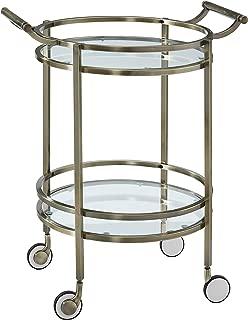 Powell Antique Brass Round Service Cart