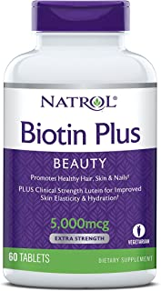 Natrol Biotin Beauty Plus Lutein Tablets, Promotes Healthy Hair, Skin & Nails, Improves Skin Elasticity & Hydration, Extra...