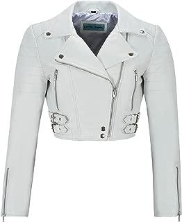 Smart Range Missy Ladies Short Fashion Fitted White Red Pink Tan Biker Soft Napa Goth Leather Jacket Kylie