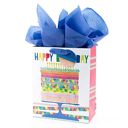 Hallmark Large Birthday Gift Bag With Tissue Paper Bright Cake