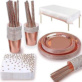 Yidaxing 147 PCS Vaisselle de Fête en Or Rose, Vaisselle d'anniversaire Jetable Assiettes Tasses Serviettes et Nappes Fête...
