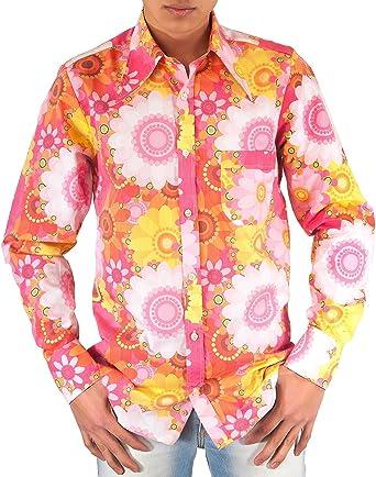 Camisa rosa de flores, de estilo setentero: Amazon.es: Ropa