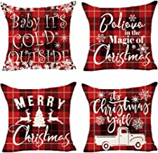 Set of 4 Merry Christmas Baby It's Cold Outside Red And Black Plaid Geometric Snowflake Truck Reindeer Pillows Cotton Linen Decorative Home Office Throw Pillow Case Couch Cushion Cover 18X18 inches