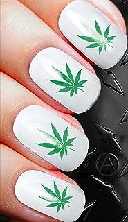 Pot Leaf Green Novelty Nail Art Transfer Decal Wrap For False Acrylic Gel or Natural Nails d102