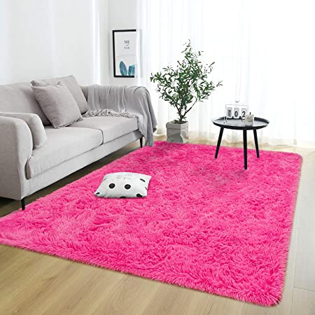 Softlife Fluffy Bedroom Area Rugs 4 X 5 3 Feet Shaggy Nursery Rug For Girls Baby Kids Dorm Room Modern Home Decorative Plush Indoor Floor Carpet Hot Pink Home Kitchen
