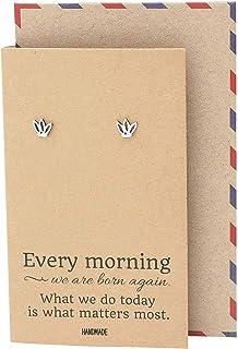 Quan Jewelry Lotus Flower Yoga Earrings, Silver Tone Comfortable Minimalist Flower Earrings, Gifts for Yoga Lovers - 100% ...