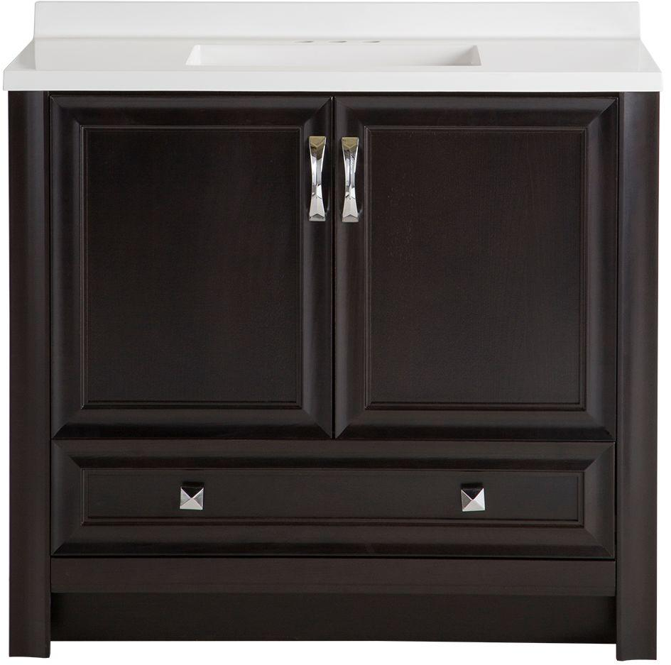 Glacier Bay Candlesby 36-1/2 in. W x 18-3/4 in. D Bath Vanity in Charcoal with AB Vanity Top in White - CD36P2-CL - The Home Depot