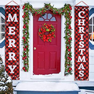 Porch Christmas Decorations, Merry Christmas Banner, Christmas Porch Sign - Large Christmas Front Door Decorations Outdoor...