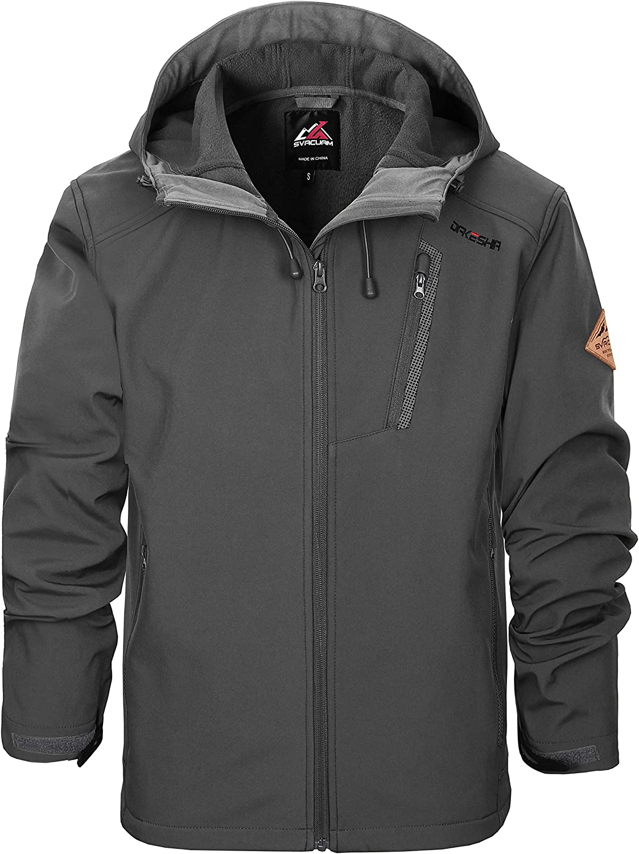 SVACUAM Men's Windproof Softshell Jacket with Hood Fleece Lined Warm Up Jacket(Dark Grey,S)