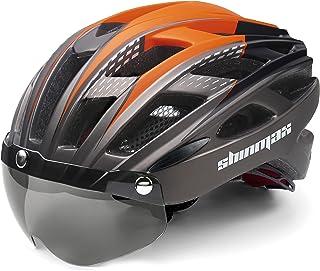 Shinmax Casco Bicicleta con luz, Certificación CE,con Visera Magnética Seguridad Ajustable Desmontable Deporte Gafas de Pr...