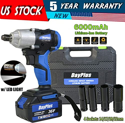 """popular Impact Wrench 1/2"""" with 6000mAH Battery Power Tool Kit Cordless Portable Compact Impact Gun with 4Pcs Sockets 14mm 17mm 19mm 22mm and Storage Case, 420N.m sale High Torque Variable 2021 Speed online"""