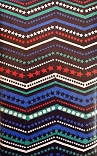 Americana 4th of July Zig Zag Stars and Stirpes Vinyl Flannel Back Tablecloth (60