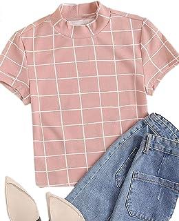 SheIn Women's Plaid Short Sleeve Neon Color Mock Neck Slim Fit Crop Blouse Tops Tee