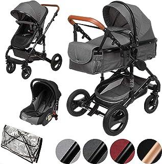 ib style SOLE 3 in 1 Kombi Kinderwagen | inkl. Auto Babyschale | Zusammenklappbar | inkl. Regen- & Mückenschutz | 0-15kg |Grau/Gestell: Schwarz