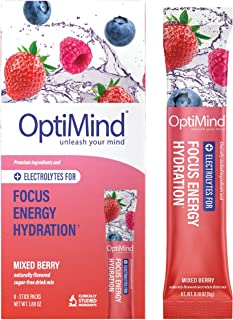 OptiMind Focus + Energy: Sugar-Free, Electrolyte Water Booster for Nootropics, Vitamins, Energy (Natural Mixed Berry Flavor, 8 Pack)