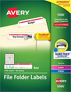 Avery Red File Folder Labels for Laser and Inkjet Printers with TrueBlock Technology, 2/3 x 3-7/16 Inches, Box of 1500 (5066)