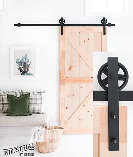✅Industrial By Design – 6ft 7in Big Wheel Sliding Barn Door Hardware Kit (Black) – Step-by-Step Installation Video – Ultra Quiet – One-Piece Rail, Industrial Spoke Wheel #Tools & Home Improvement Hardware