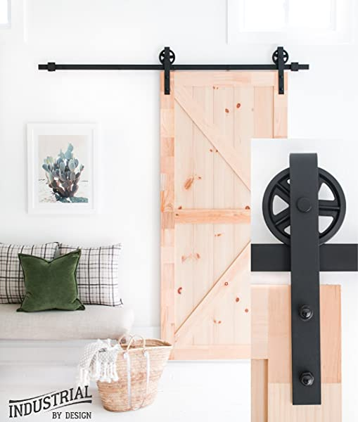 Industrial By Design 6ft 7in Big Wheel Sliding Barn Door Hardware Kit Black Step By Step Installation Video Ultra Quiet One Piece Rail Industrial Spoke Wheel